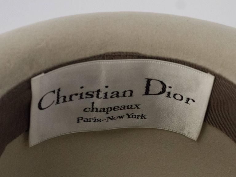 80s Brown and Cream Christian Dior Hat 5