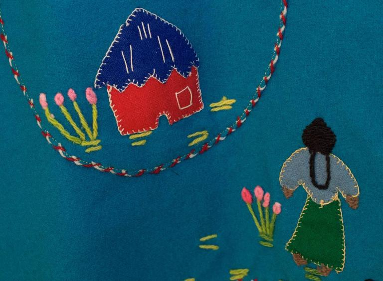 40s / 50s Teal Mexican Embroidered Jacket  7