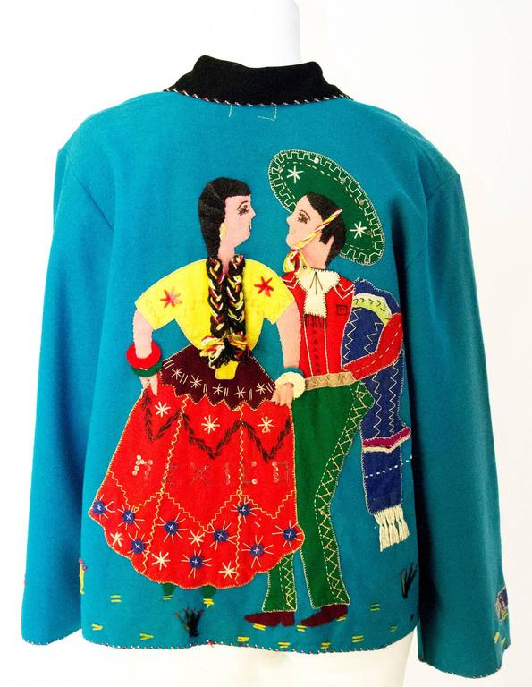 40s / 50s Teal Mexican Embroidered Jacket  2