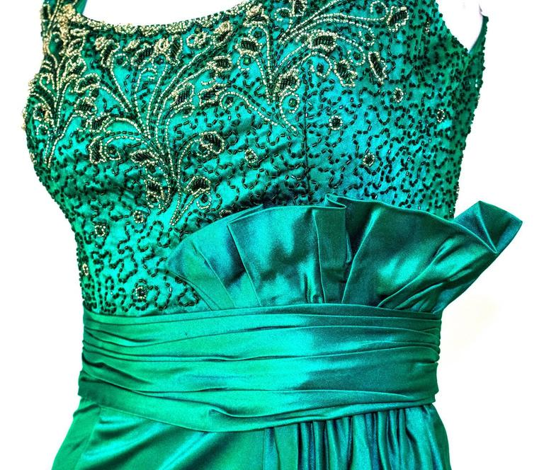 50s Green Satin Column Gown with Beaded Bodice and Gathered Waist Sash 2