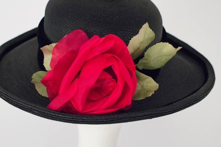 80s Christian Dior Black Straw Wide Brim Hat with Velvet Trim and Red Rose 5