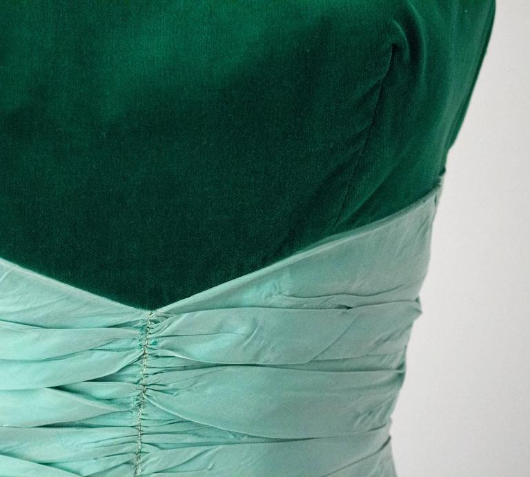 50s Green Velvet Taffeta Dress with Bubble Hem 3