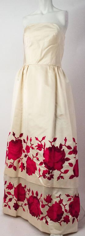Women's 50s Silk Satin Tiered Strapless Gown For Sale