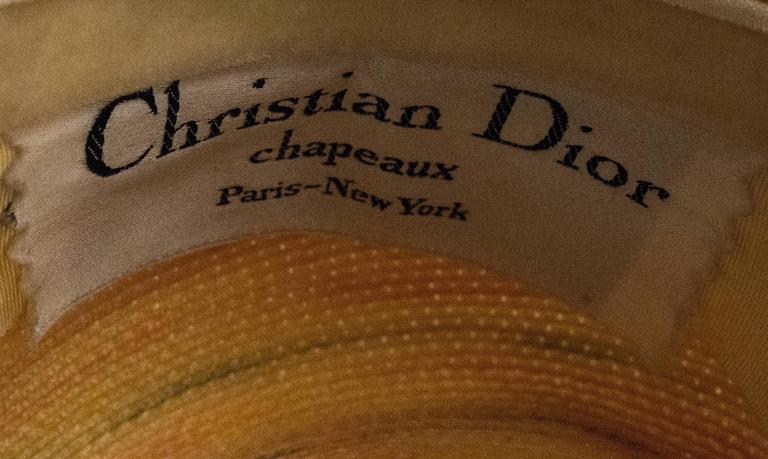60s Christian Dior Paris Straw Hat For Sale 1