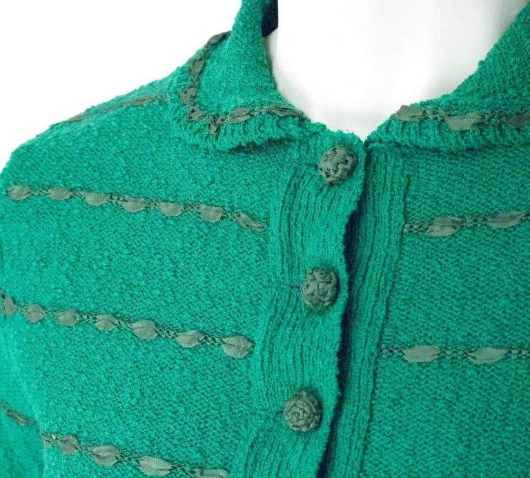 Women's 50s Green Knit Sweater Top With Ribbon Weave For Sale