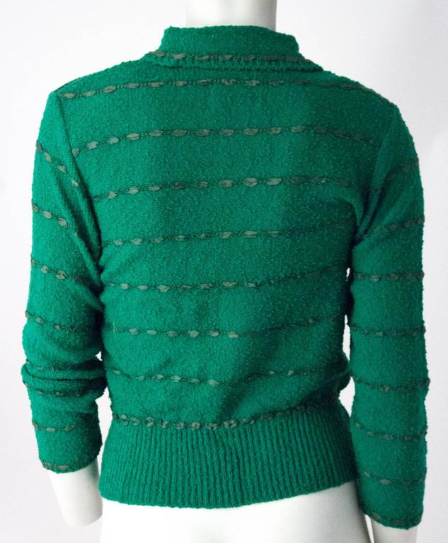 50s Green Knit Sweater Top With Ribbon Weave In Excellent Condition For Sale In San Francisco, CA