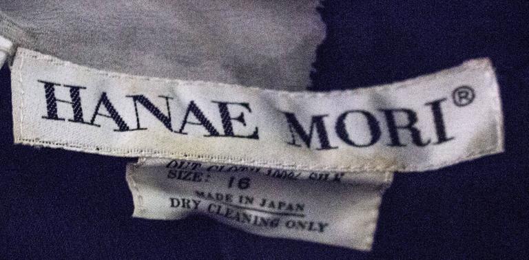 Women's 80s Hanae Mori Printed Silk Chiffon Magenta and Black Dress For Sale