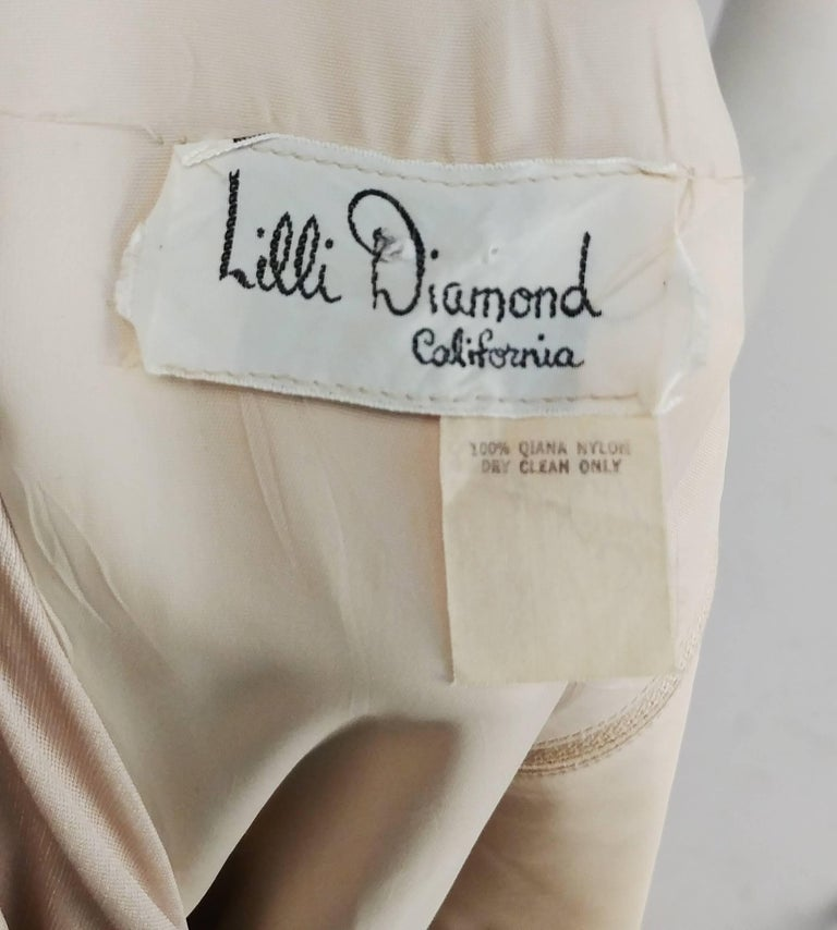 Women's 1970s Lilli Diamond Nude Wrap-Style Dress with Feather Trim