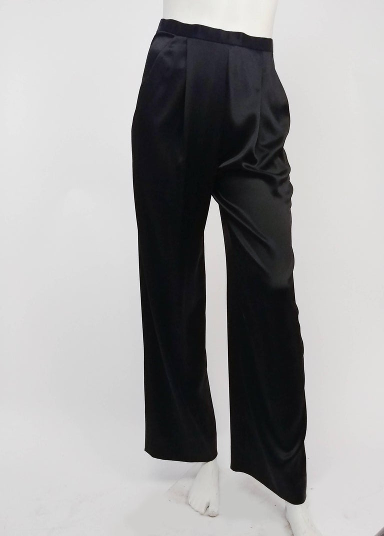 Women's 1980s Badgley Mischka Lace Blazer & Satin Trouser Pantsuit For Sale