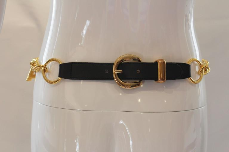 1980s Escada Nautical Logo Gold Chain Belt  6