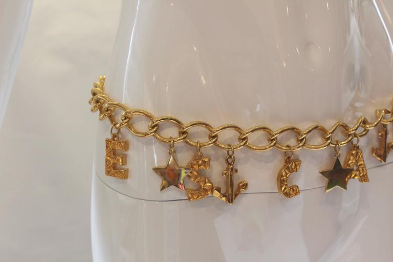 1980s Escada Nautical Logo Gold Chain Belt  3