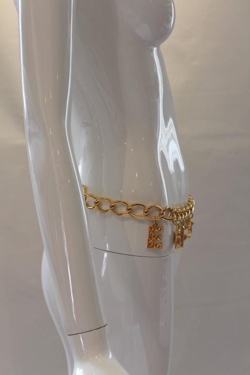 1980s Escada Nautical Logo Gold Chain Belt  5