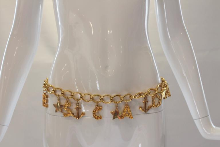 1980s Escada Nautical Logo Gold Chain Belt  9