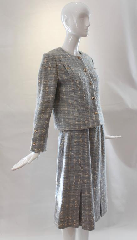 Chanel Blue Tweed Skirt Suit  6