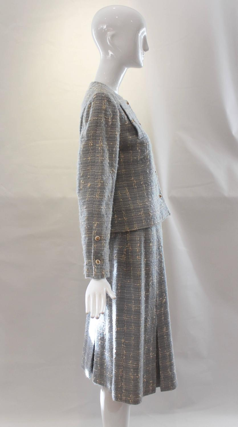chanel blue tweed skirt suit at 1stdibs