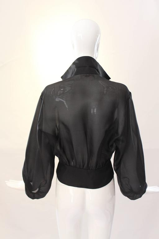 Yves Saint Laurent Rive Gauche Black Sheer Blouse Jacket  7