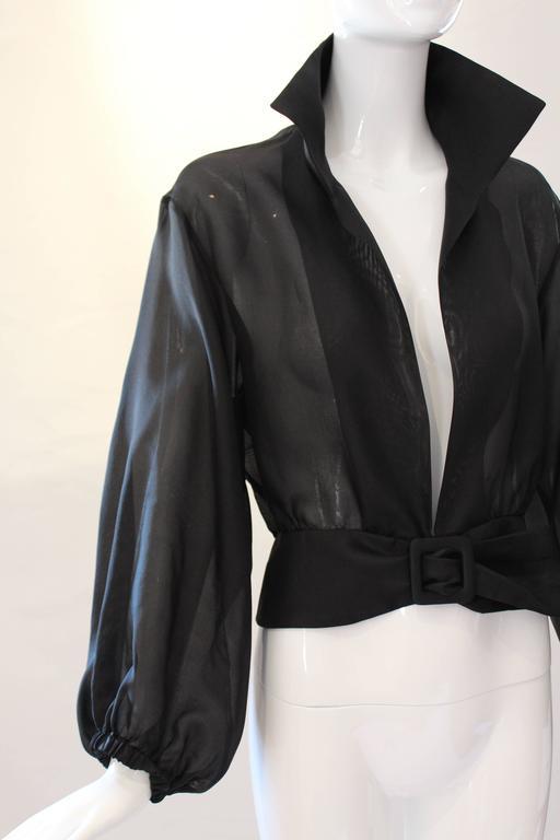 Yves Saint Laurent Rive Gauche Black Sheer Blouse Jacket  2