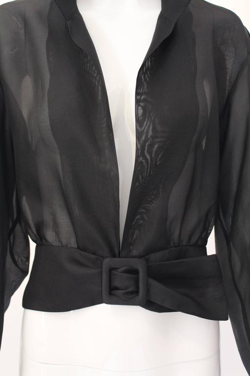 Yves Saint Laurent Rive Gauche Black Sheer Blouse Jacket  3