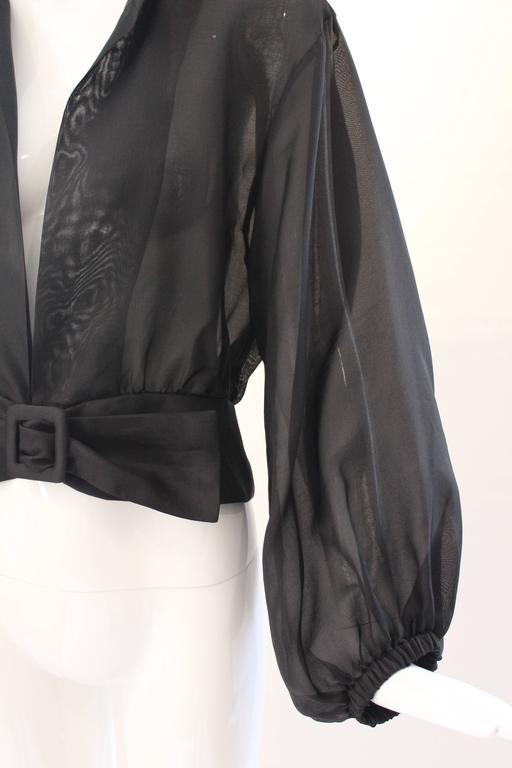 Yves Saint Laurent Rive Gauche Black Sheer Blouse Jacket  4