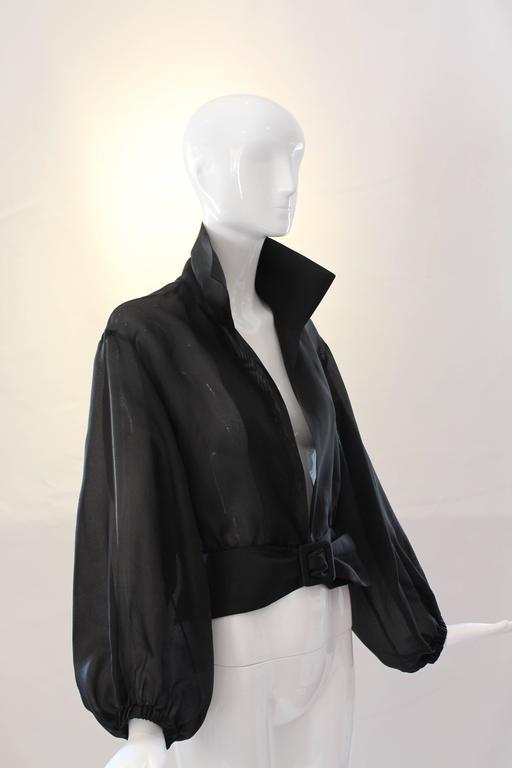 Yves Saint Laurent Rive Gauche Black Sheer Blouse Jacket  5