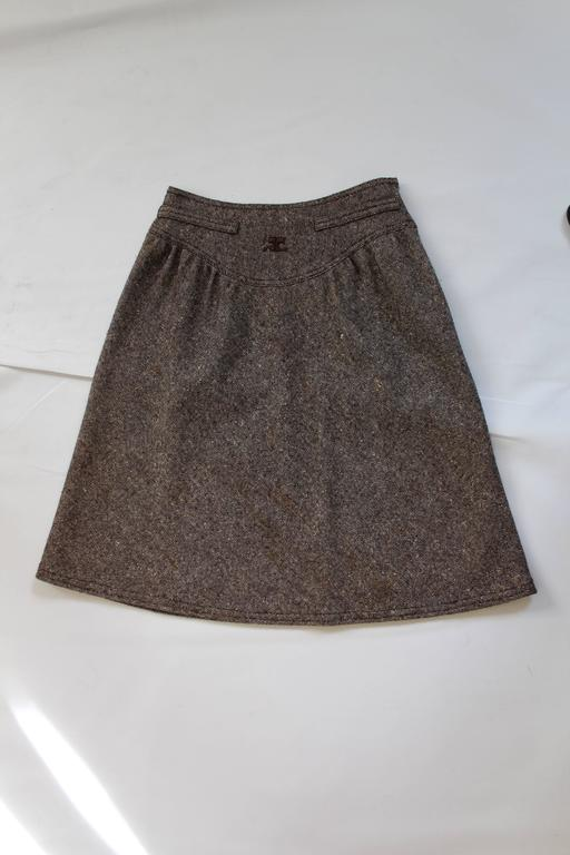 1960s Courreges Tweed Skirt For Sale 3