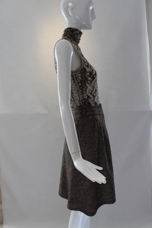 Black 1960s Courreges Tweed Skirt For Sale