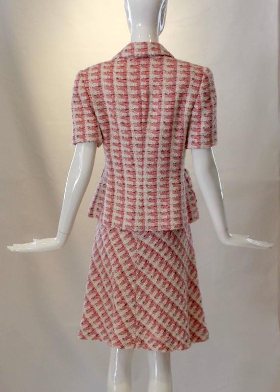Brown 1980s Bill Blass Pink Tweed Two Piece Suit For Sale