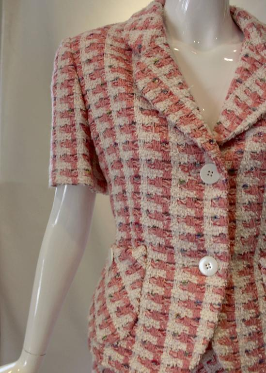 1980s Bill Blass Pink Tweed Two Piece Suit For Sale 1