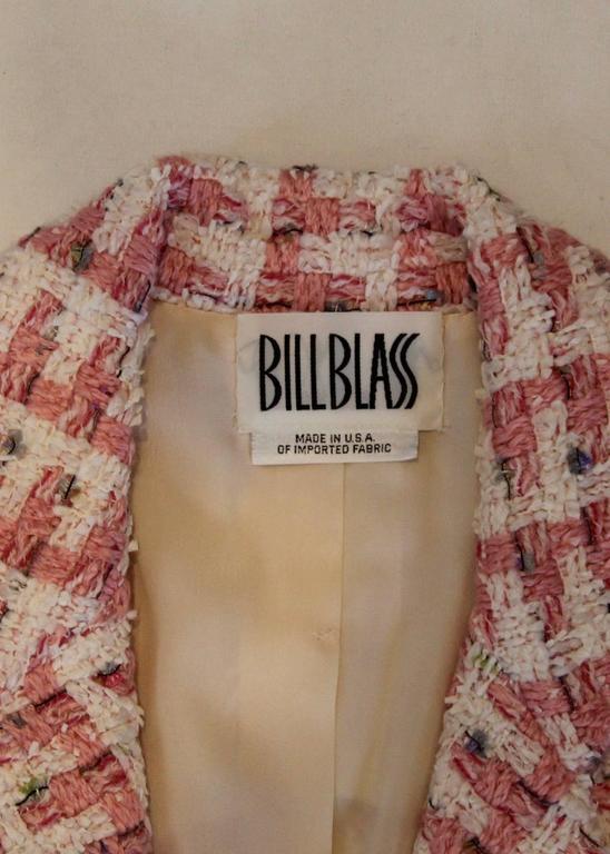 Women's 1980s Bill Blass Pink Tweed Two Piece Suit For Sale
