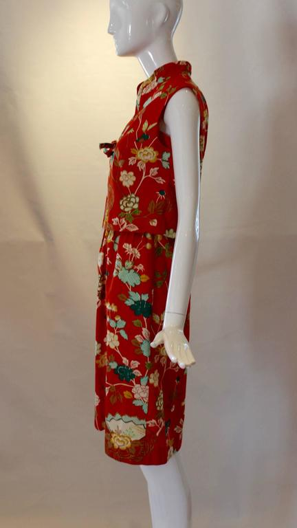 Red 1960s Neiman Marcus Two Piece Printed Sundress  For Sale