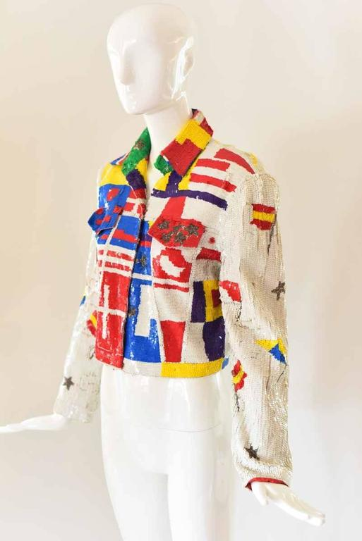 Beige 1980s Lillie Rubin Sequin Jacket For Sale