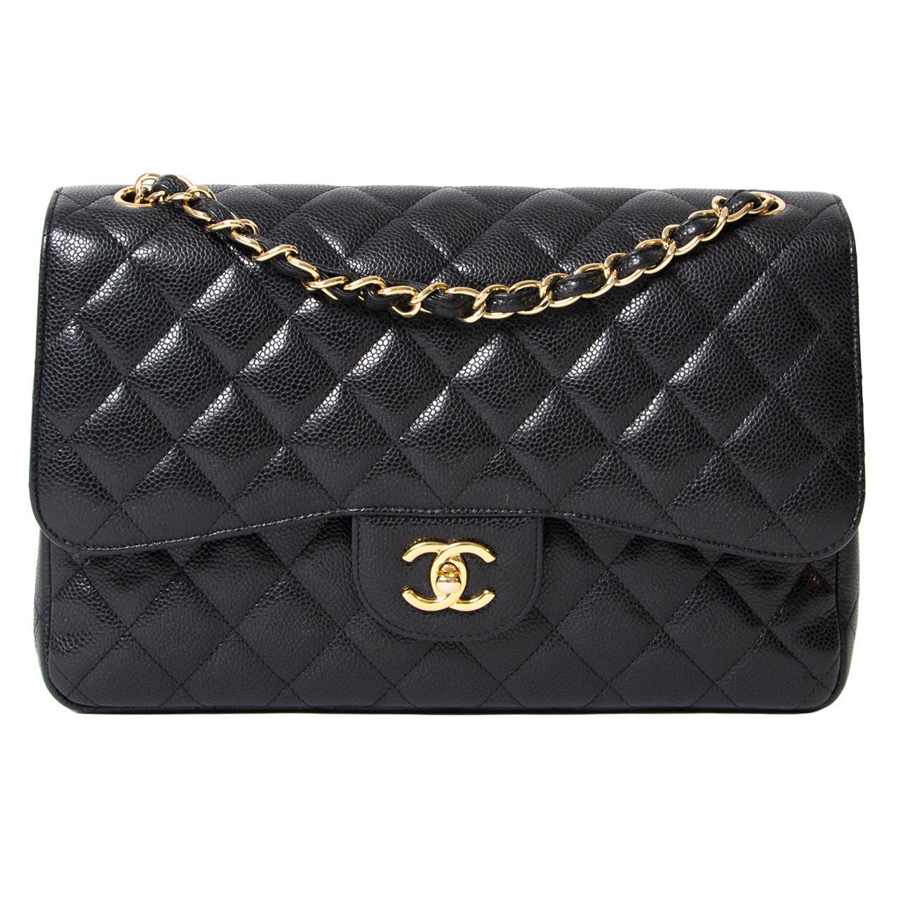 65e8707b98da Chanel Black Caviar Jumbo Double Flap Bag   Stanford Center for ...