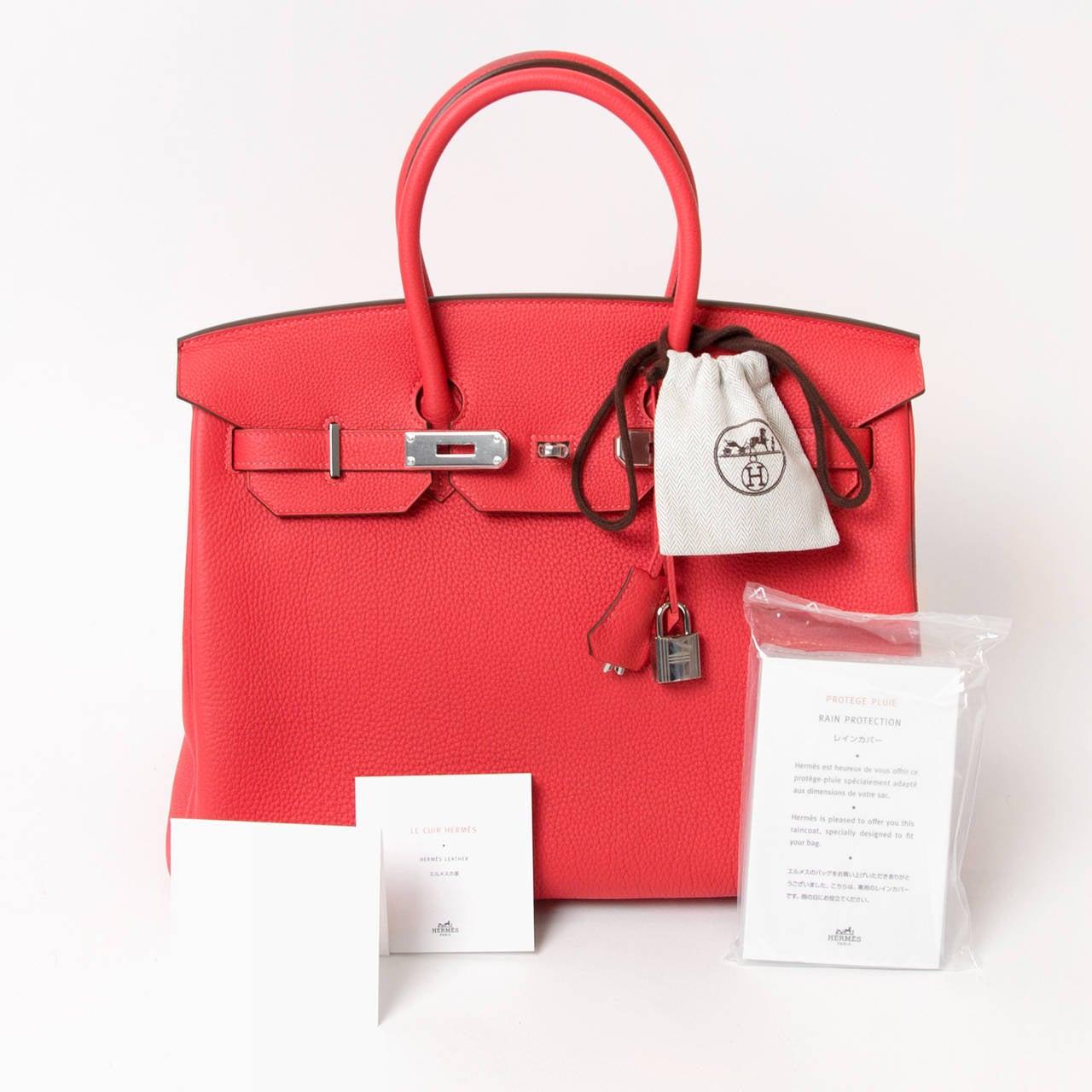 Brand New Hermes Togo Birkin 35 cm Rouge Pivoine PHW at 1stdibs