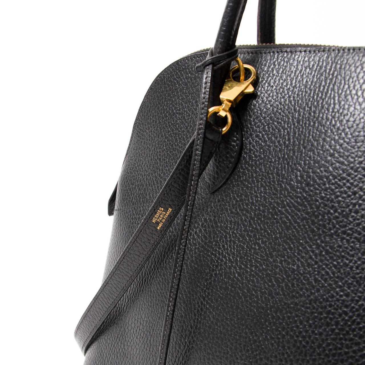 Hermes Bolide 35 Black Top Handle Shoulder Strap Bag GHW at 1stdibs