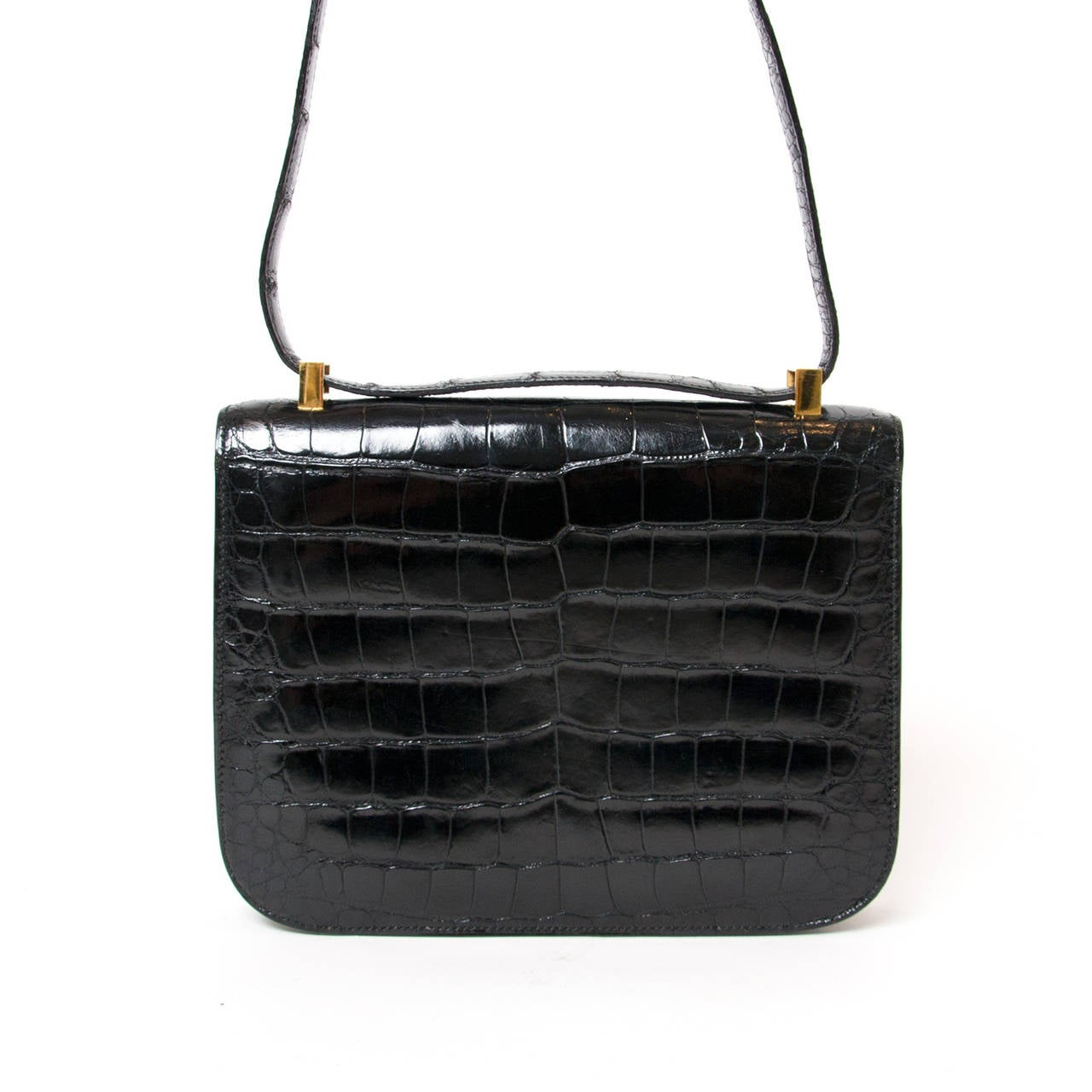 Hermes Black Constance Bag Alligator 23 at 1stdibs