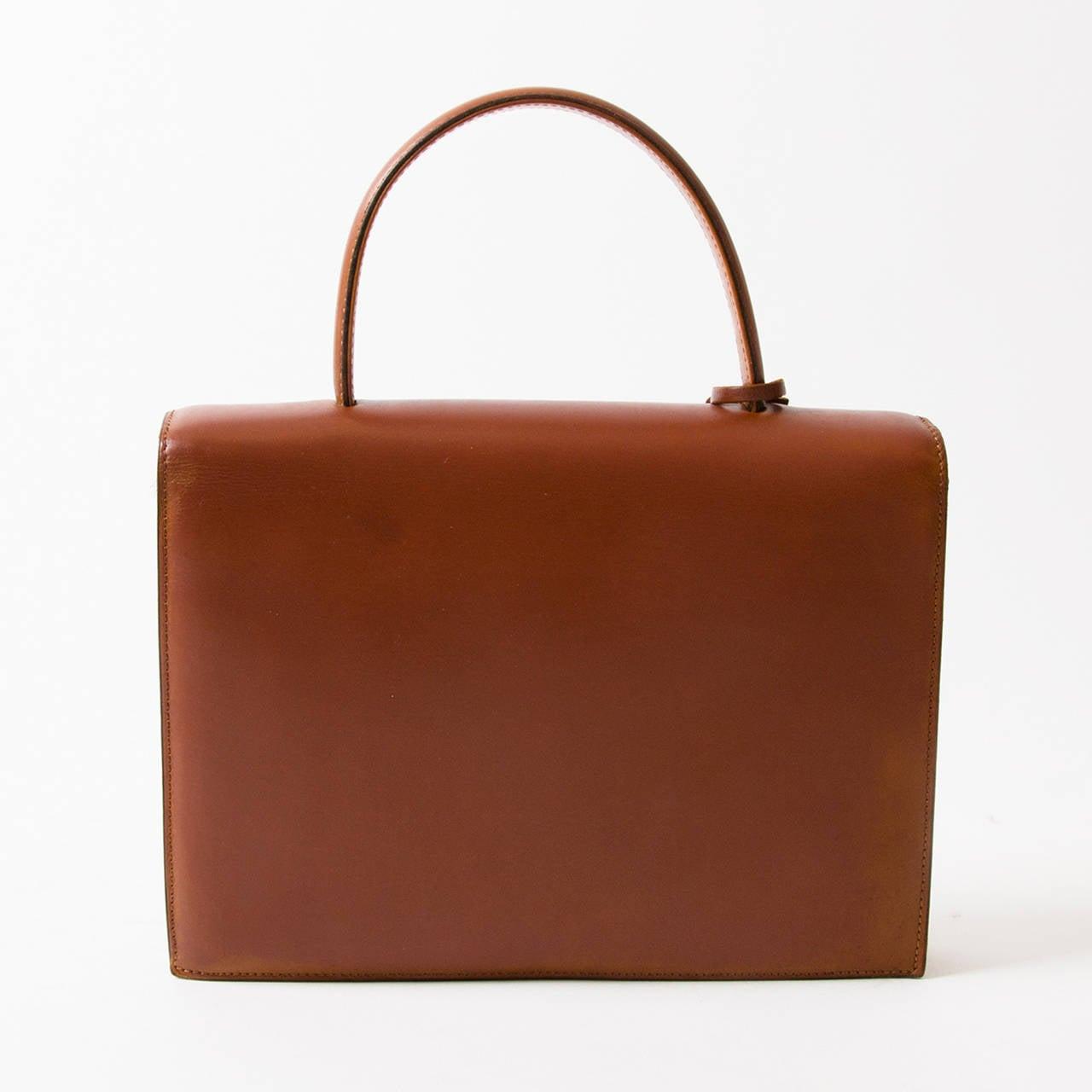 Delvaux Vintage Cognac Top Handle Bag 3