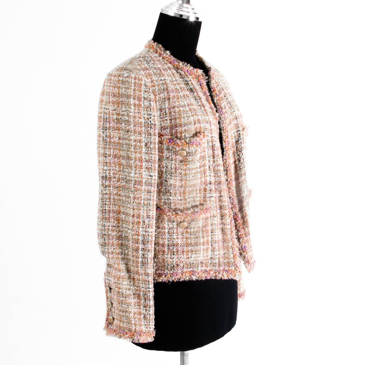 Chanel Pastel Tweed Jacket At 1stdibs