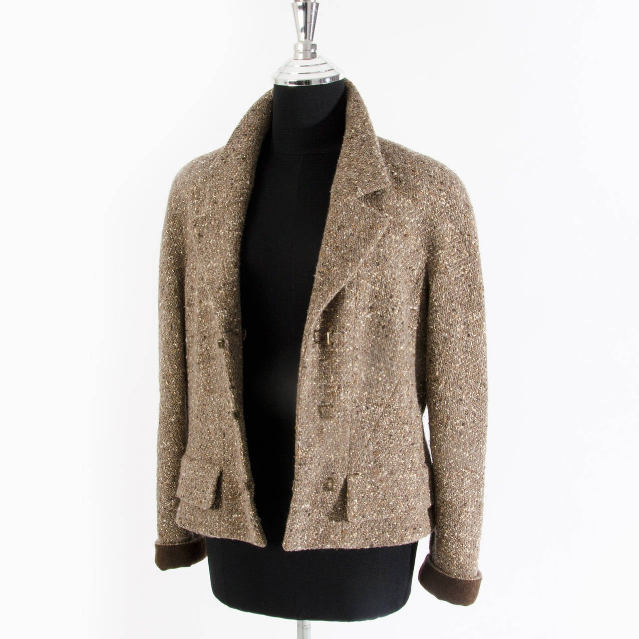Women's Chanel Tweed Brown Jacket For Sale