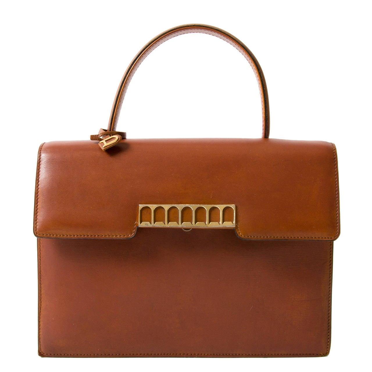 Delvaux Vintage Cognac Top Handle Bag 1