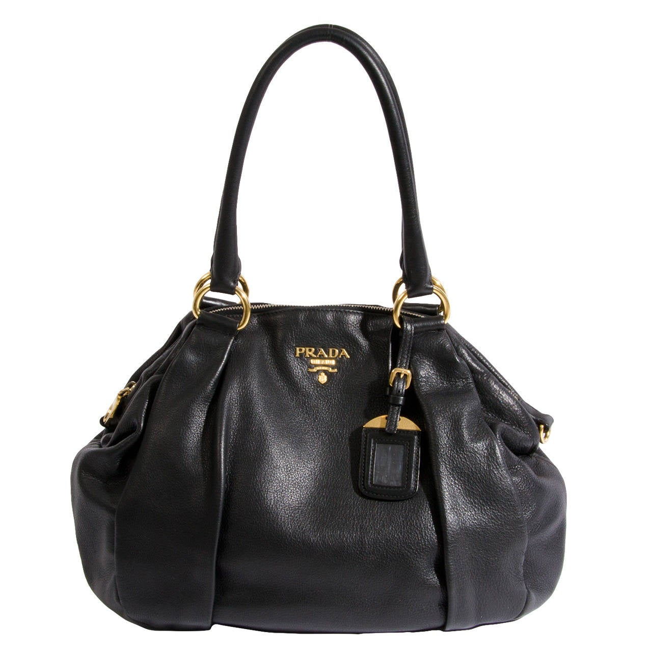 prada handbags fake or real - Prada Black Leather Top Handle Bag at 1stdibs