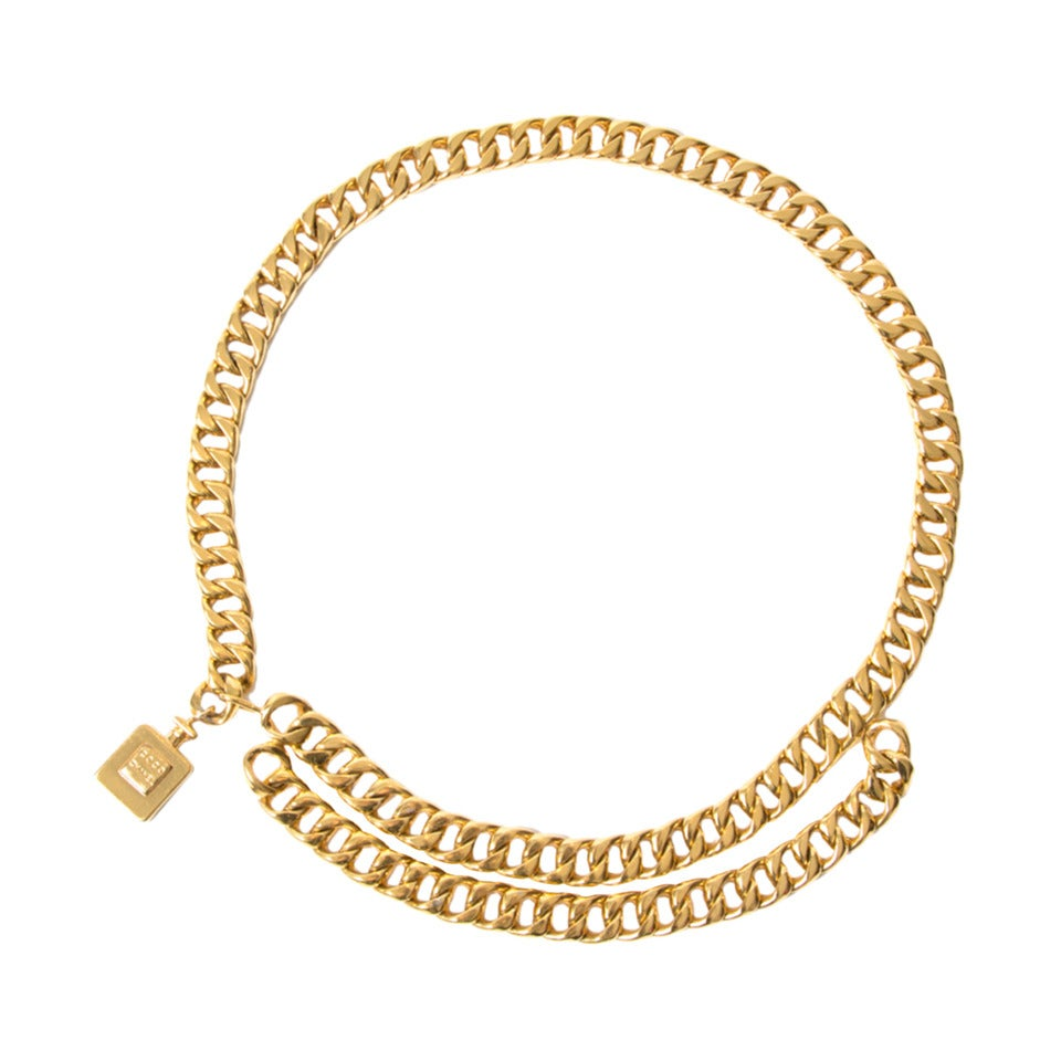 Chanel Gold Parfum Chain Belt For Sale