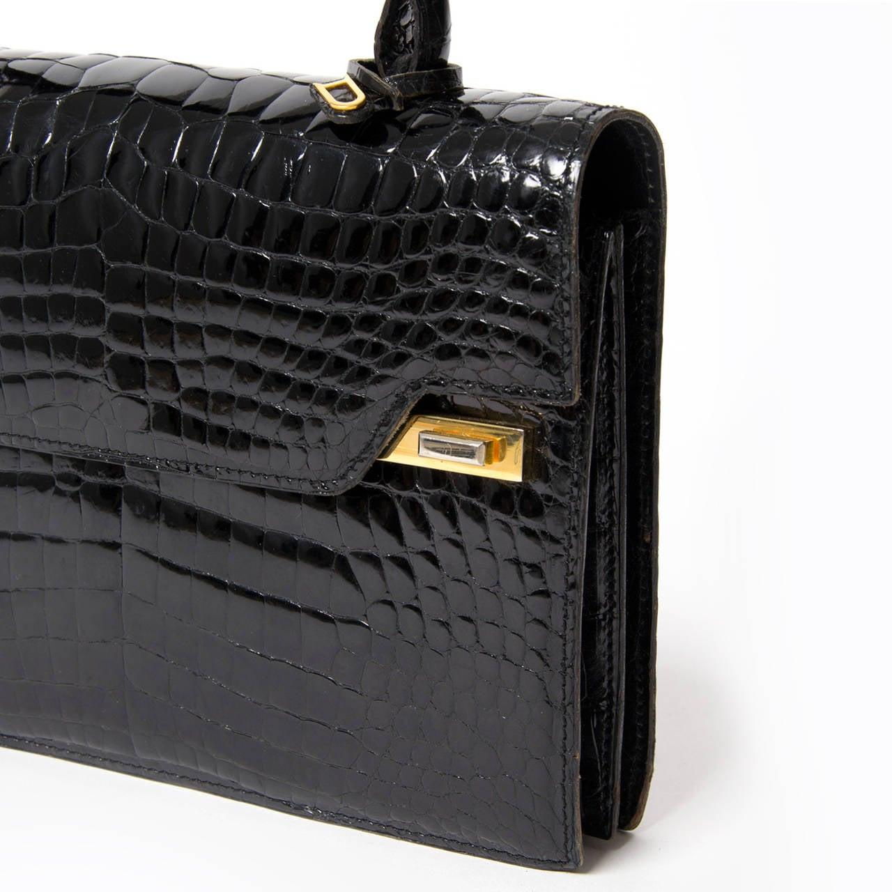 Delvaux Vintage Croco Handbag At 1stdibs