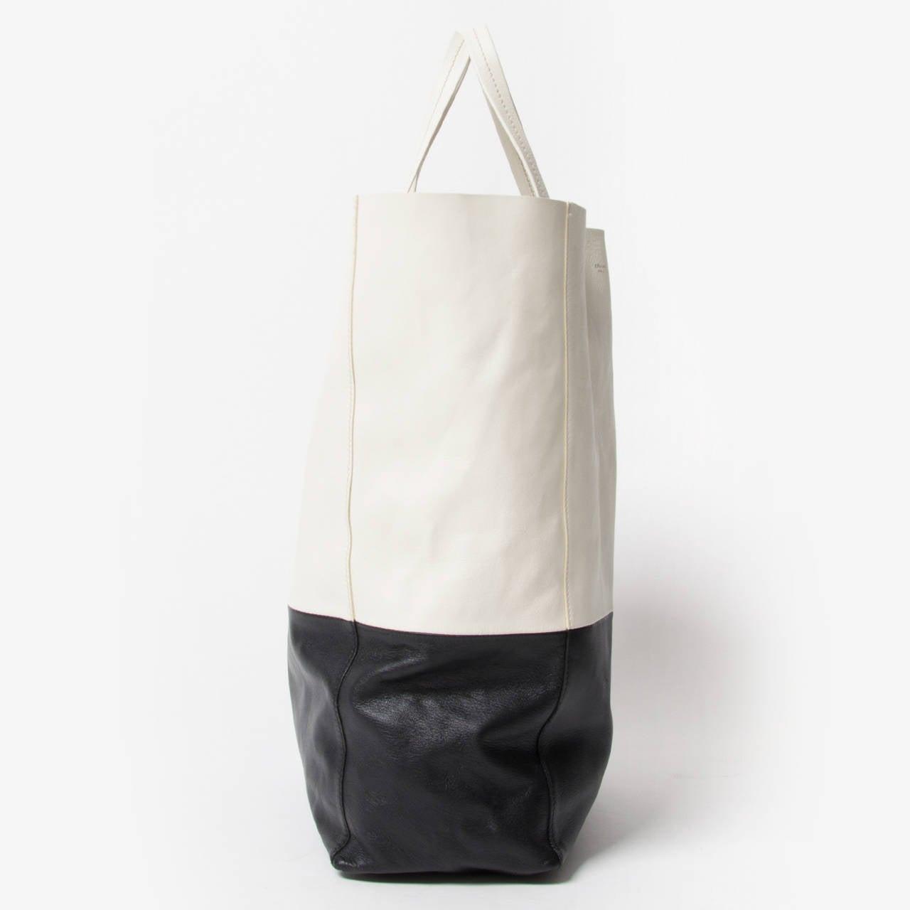 Céline Black And White Cabas Bag 2
