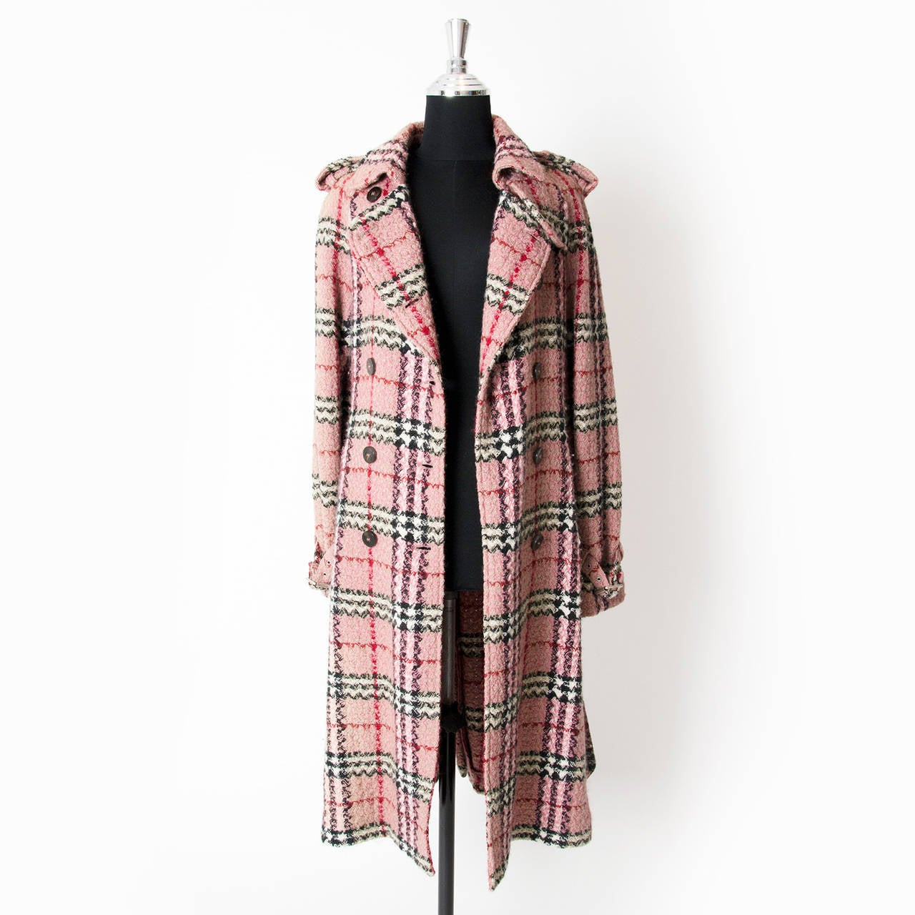 Burberry Pink Checkered Trench Coat at 1stdibs