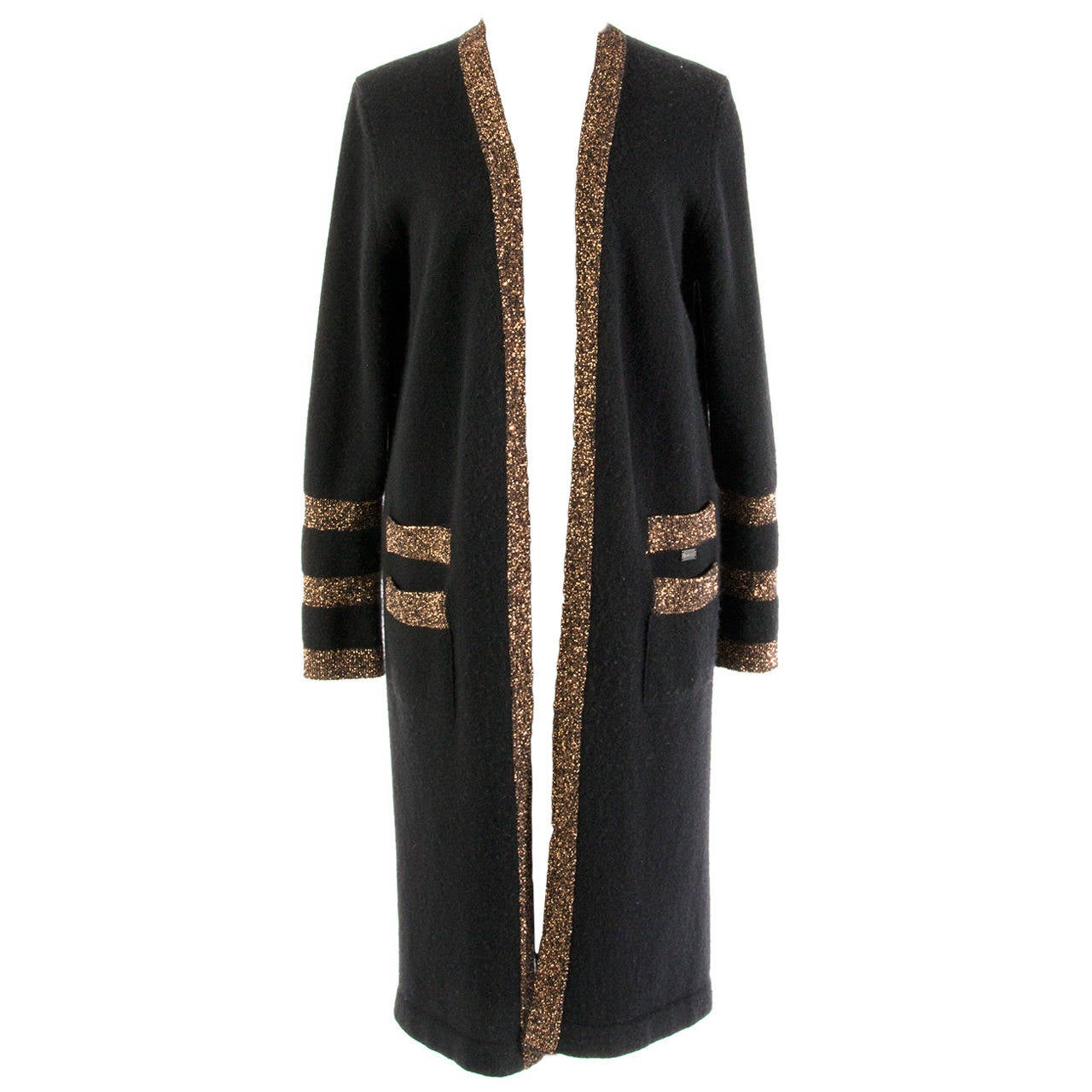 Chanel Black And Gold Cashmere Cardigan at 1stdibs