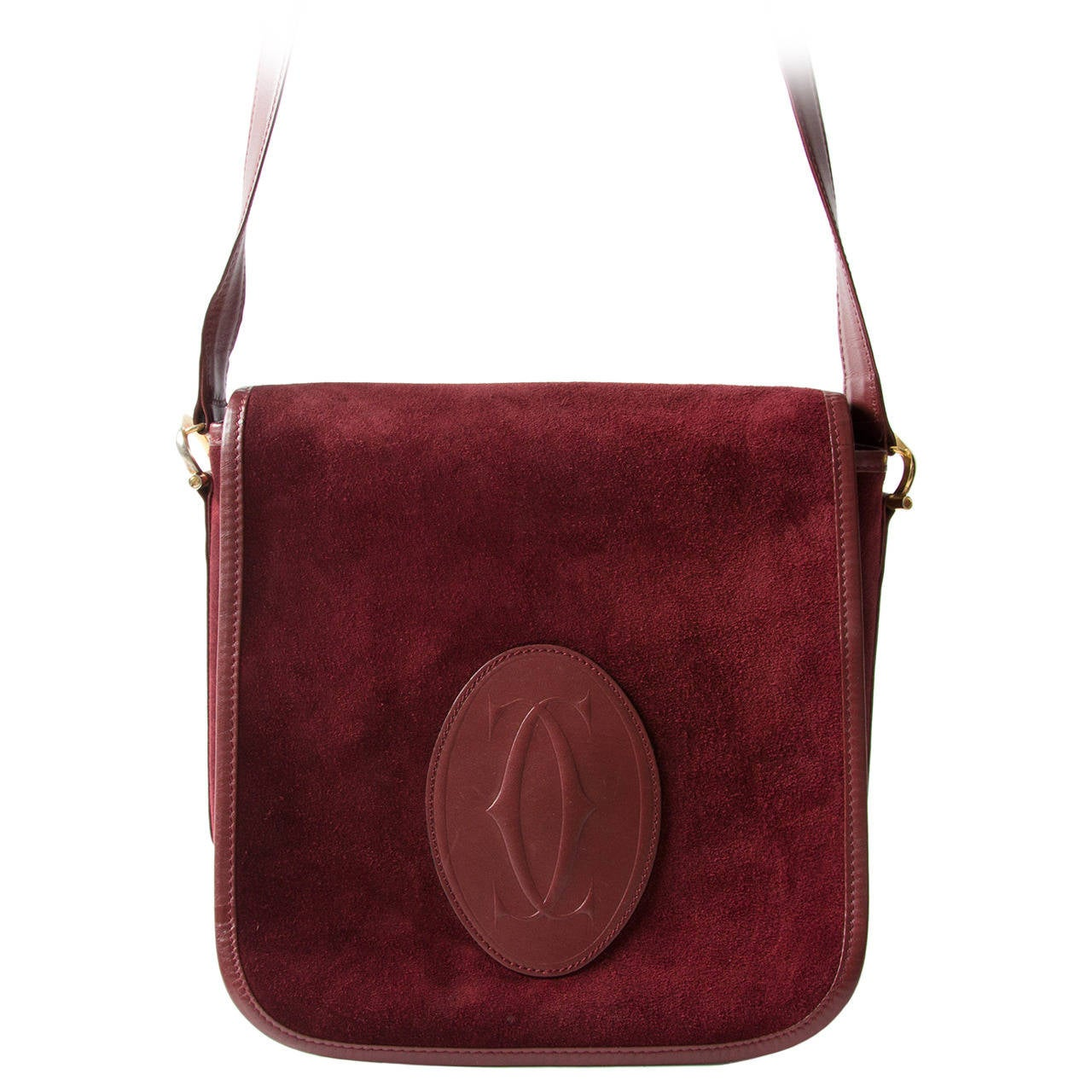cartier suede flap bag at 1stdibs