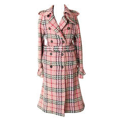 Burberry Pink Checkered Trench Coat