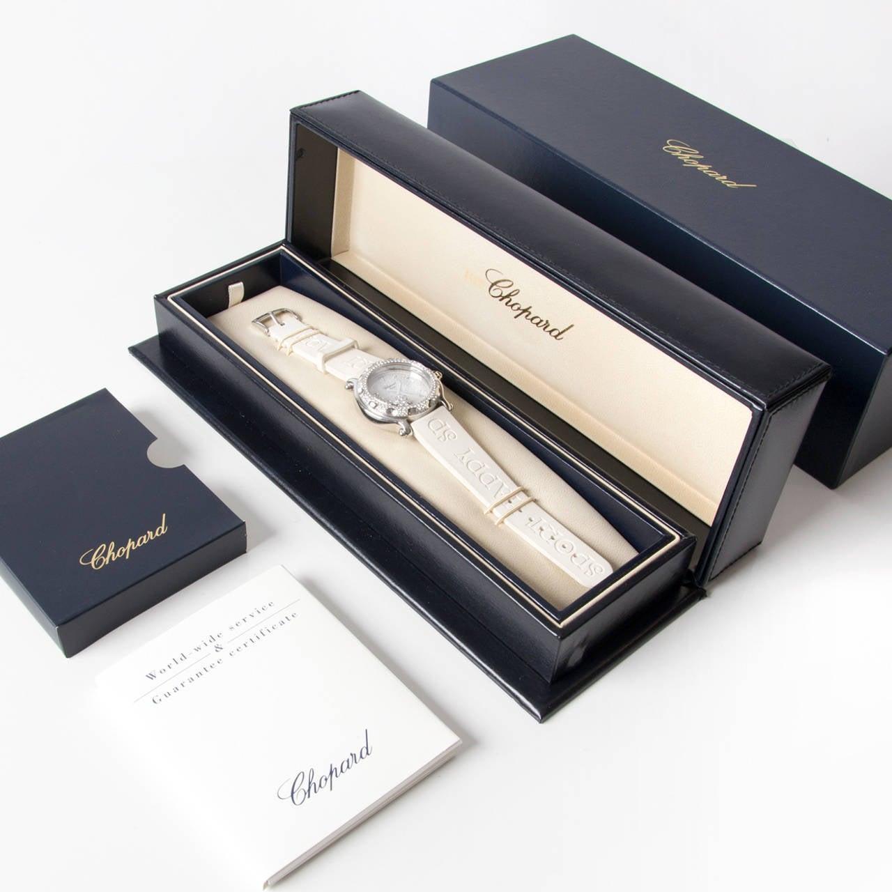 Chopard Lady's White Gold Steel Quartz Happy Sport Snowflake Wristwatch 2