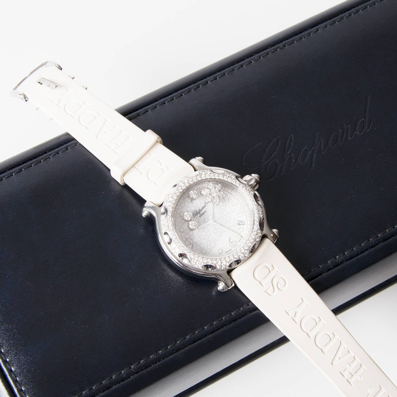 Chopard Lady's White Gold Steel Quartz Happy Sport Snowflake Wristwatch In Good Condition For Sale In Antwerp, BE