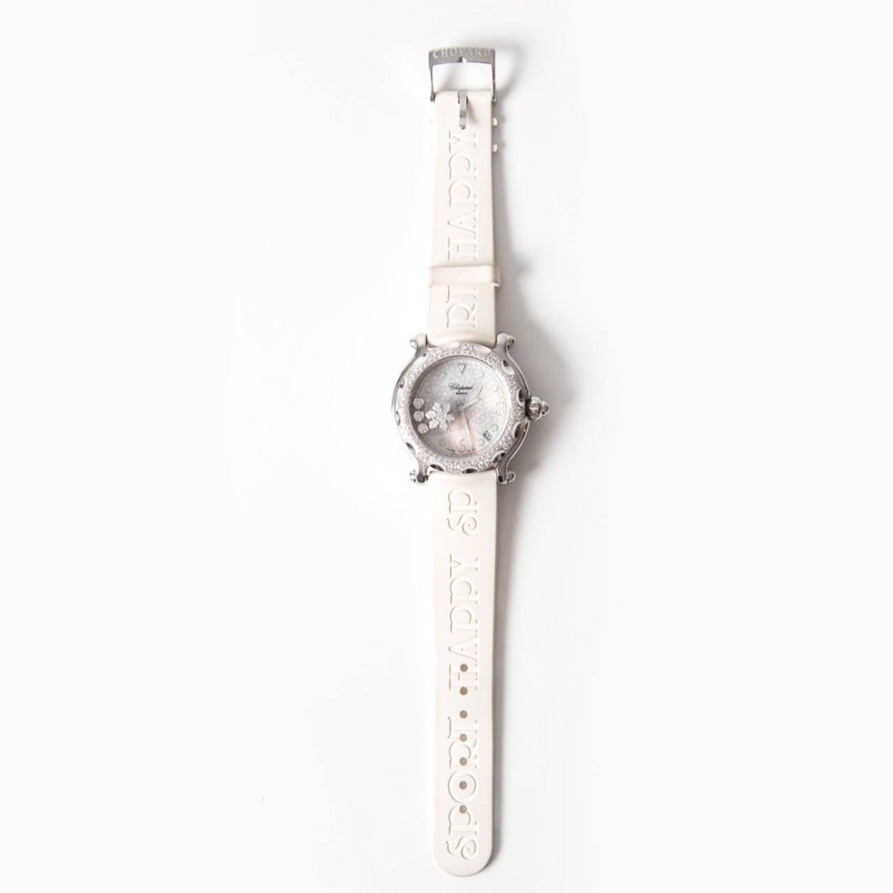 Women's Chopard Lady's White Gold Steel Quartz Happy Sport Snowflake Wristwatch For Sale
